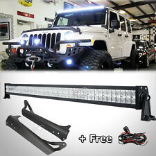 52Inch 400W LED Light Bar+Mounting Brackets Fit For Jeep Wrangler TJ 4WD 1997-06