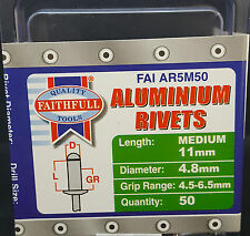 FREEPOST Aluminium Rivets 4.8mm x 11mm Medium Pre-Pack of 50 Uk Seller