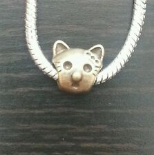 Kitty Cat Spacer Dangle Bead fits European Charm Bracelets Necklace Bronze Tone