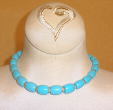 Crown Trifari Turquoise Blue Necklace w/ Textured Gold Spacers