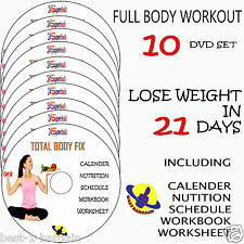 10 DVD SET-FITNESS FULL BODY WORKOUT ON EXERCISES LOSE WEIGHT BURN FAT LOSS FAST