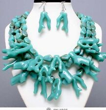 Plastic Turquoise Blue Branch Sea Coral Multi Layered Bead Necklace Earring Set