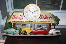 New Haven 50's Family Drive In Diner Wall Clock w/ Hot Rods & Coke Cola