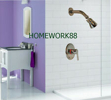 Wall Mounted Rain Shower Faucet Set Valve Mixer Tap Chrome Brass Sprayer