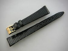 Original Vintage ZENITH Black Lizard Watch Strap Band 16mm Buckle Ladie's New