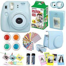 FujiFilm Instax Mini 8 Instant Film Camera Blue Film Twin Pack Case Frame Selfie