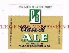 Unused 1960s Packard Bamberger Grocery Ale Label Tavern Trove Pennsylvania