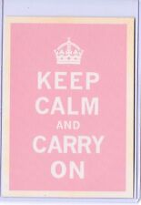 VINTAGE REPRO KEEP CALM AND CARRY ON ENGLAND WAR II PINK REPRODUCTION POSTCARD