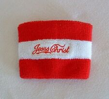 "JESUS CHRIST WRIST / ARM BAND Red White Elastic ""Knitting"" WEAR YOUR FAITH"