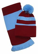 Claret and Sky Blue, Scarf and Hat Set