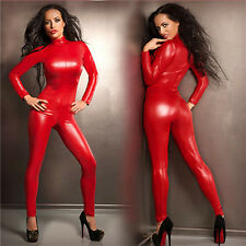 Sexy Catwoman False Leather Zipper Wetlook Jumpsuit Catsuit Club Fancy Dress P45