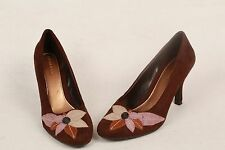 HIGHLIGHTS Womens Brown Faux Suede Flower Toe Dress Heels Shoes Pumps 5.5
