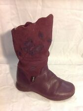 Girls Clarks Purple Leather Boots Size 7F