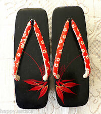 "GETA CLOGS JAPANESE WOMENS PLATFORM SANDALS Size 5 ? SMALL 8.5""/22 cm BLACK, RED"