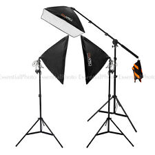 EssentialPhoto EzyLite Softbox 3-Head Continuous Lighting Kit With Boom Stand