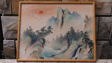 """ANTIQUE 19C CHINESE WATERCOLOR ON FABRIC PAINTING """"MOUNTAINS,VILLAGE,CRANES"""""""