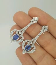 HANDMADE 14K WHITE GOLD DROP EARRINGS WITH DIAMONDS AND SAPPHIRE RUSSIAN JEWELRY