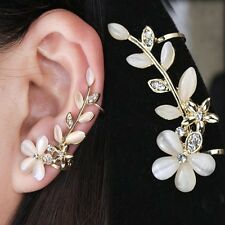 Pearl Diamante Rhinestone Ear Cuff Stud Earring Jewellery Gold Floral Ivory Clip