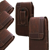 Belt Clip Loop Holster Case PU Leather Pouch Holde Cover Brown For Mobile Phones