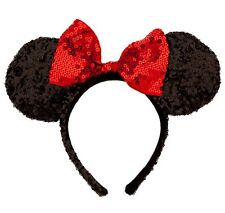 New Minnie mouse Disney parks sequin black and red ears Headband