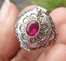 925 Solid Silver Balinese Poison Wish Locket Ring Ruby Cut Size 10-H120
