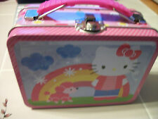 Hello Kitty Pink RAINBOW  SQUARE LUNCH BOX TIN collectible  great gift
