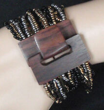 wide bracelet stretchy multi strand wood clasp buckle gold silver black cuff