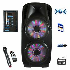 "2x12"" BEFREE SOUND WOOFER PORTABLE BLUETOOTH POWERED PA PARTY DJ SPEAKER w/h MIC"