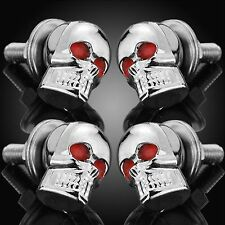 4× Chrome Skull License Plate Fastener Frame Bolts Motorcycle Custom Tag Screws
