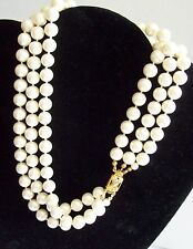 Chunky Sharp Looking Triple Strand Large Faux Pearl Necklace - Sterling Catch