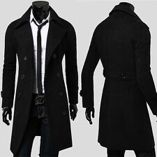 CHEAP Mens LUXURY Trench Coat Winter Warm Long Jacket Double Breasted Overcoat
