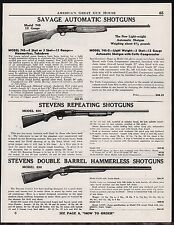 1947 SAVAGE Model 745 STEVENS 620 & 530 Shotgun AD Antique Gun Advertising