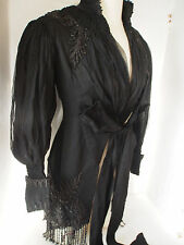 Antique Victorian PARIS Black Bead Embroidery Chantilly Lace Silk Corset Jacket