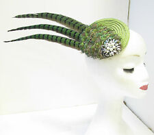 Green Peacock & Pheasant Feather Fascinator Headpiece Vintage White 1940s U50
