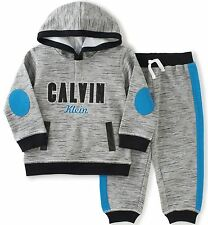 Calvin Klein Baby Boys' Hooded Pullover with Pants Set Gray 0-3 Months