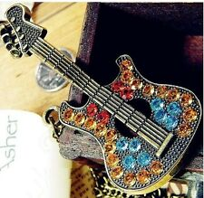 Full Multi Crystal Guitar Long Gold Chain Locket Charm Pendants Necklace  N104