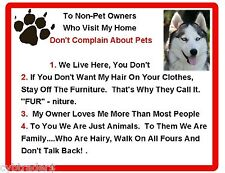 Funny Dog Siberian Husky House Rules Refrigerator / Magnet Gift Card Insert