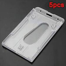 5X Clear Vertical Hard Plastic Badge Holder Double Business Card ID Transparent