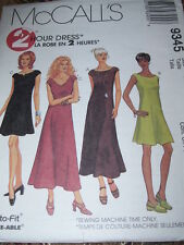 McCALL'S #9345 - LADIES ( 2 HOUR - 2 LENGTH - 4 STYLE ) DRESS PATTERN  14-18  FF