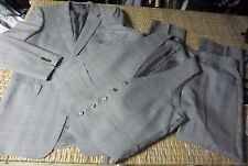 Vtg shiny Gray/Silver 3pc Plaid SUIT Jacket 40 L long Vest Pants 36 x 31 Mad Men