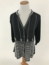 TINY Anthropologie Black embroidered Silk Cotton blouse Women's S