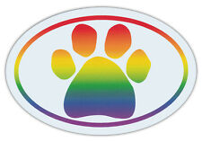 Oval Shaped Pet Magnets: RAINBOW PAW (Dogs, Cats, LGBT) | Cars, Trucks