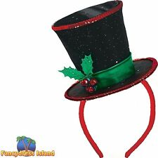 FESTIVE CHRISTMAS HOLLY TOPHAT HEADBAND - mens womens fancy dress accessory