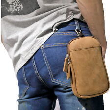 Men Crazy Horse Leather Fanny Waist Belt Bag Pouch Hip Cell Phone Case Cover