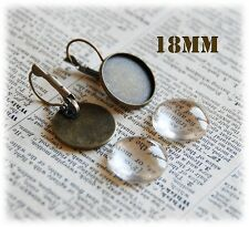 10 x 18mm Earring Findings Antique Bronze Earrings Trays and Glass cabochon