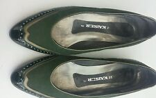 Peter Kaiser green leather vintage court shoes / pumps UK 3