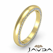 Round Diamond Mens Eternity Wedding Band 18k Yellow Gold Dome Pave Sets 3mm 1Ct