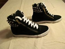 Betsey Johnson Black Suede Studded High Top Fashion Sneakers Size 8