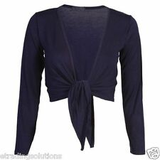 New Womens Ladies Long Sleeve Tie Front Bolero Cropped Shrug Top Cardigan*tie