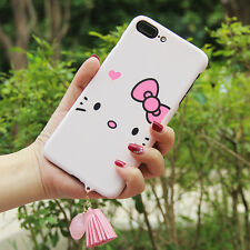 "Fr iPhone 7 i7 4.7"" Pink Hello Kitty Cartoon Hard Plastic Case Tassel Back Cover"